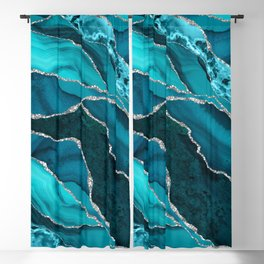 Ocean Waves Marble Teal Blackout Curtain