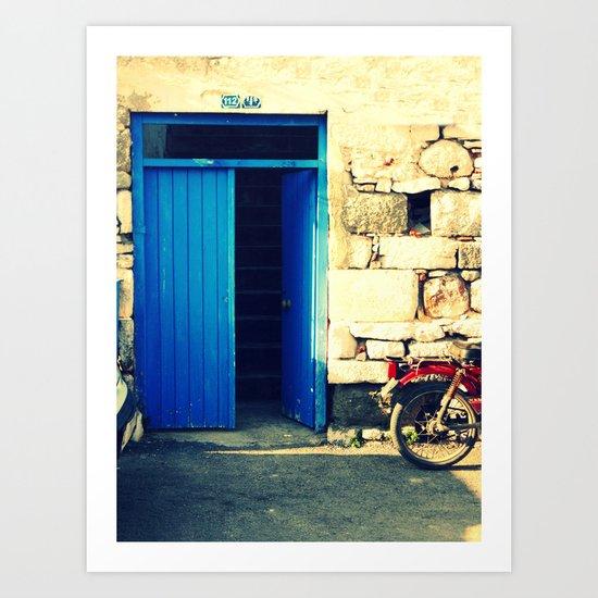 old blue door and motorcycle  Art Print
