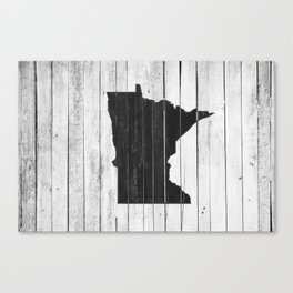 Country Cottage Black and White Minnesota State Canvas Print