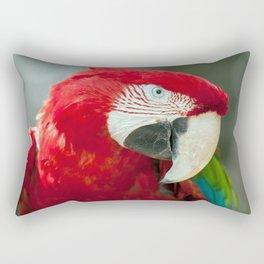 Marvelous Gorgeous Exotic Red Ara Parrot Close Up Ultra HD Rectangular Pillow