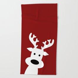 Reindeer on red background Beach Towel