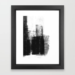 Black White Grey Abstract Monotype Framed Art Print
