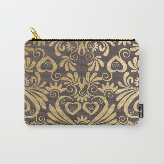 Gold swirls damask #5 Carry-All Pouch