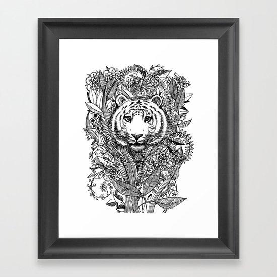 Tiger Tangle in Black and White Framed Art Print