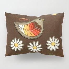 bird with three daisies Pillow Sham