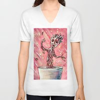 groot V-neck T-shirts featuring Lil' Groot by MSG Imaging