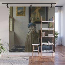 Johannes Vermeer - Lady Standing at a Virginal Wall Mural