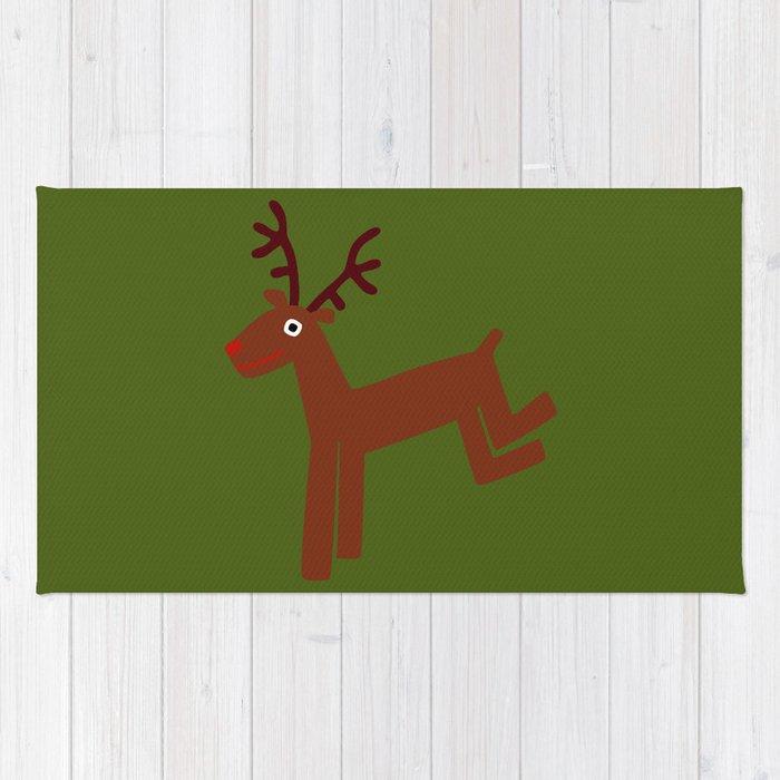 Reindeer-Green Rug