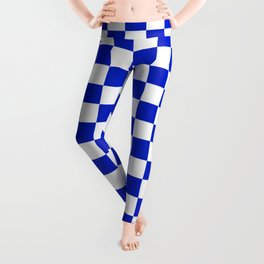 Cobalt Blue and White Checkerboard Pattern Leggings