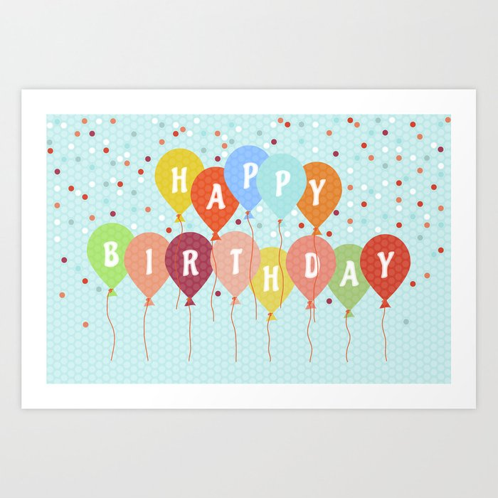 Colorful Birthday Card Art Print By Fodorviola73
