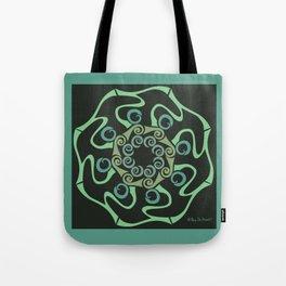 Hope Flower Mandala - Green Black Framed Tote Bag