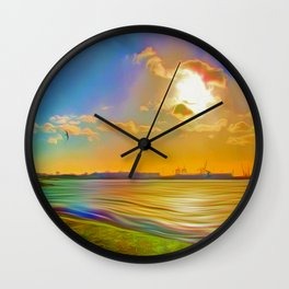 Sunrise at the Marina Wall Clock