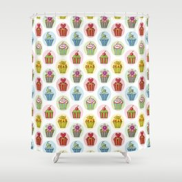 Quirky Cupcakes Shower Curtain