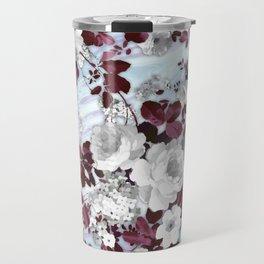 Boho burgundy white pastel marble floral pattern Travel Mug
