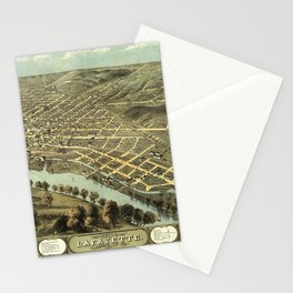 Bird's Eye View of Lafayette, Indiana (1868) Stationery Cards