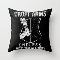 lara croft Throw Pillows featuring Croft Arms by JohnLucke