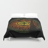 gondor Duvet Covers featuring Tree of Gondor Stained Glass by Mazuki Arts