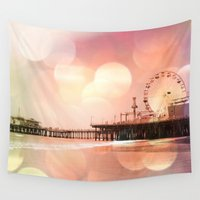 santa monica Wall Tapestries featuring Sparkling pink Santa Monica Pier by Christine aka stine1