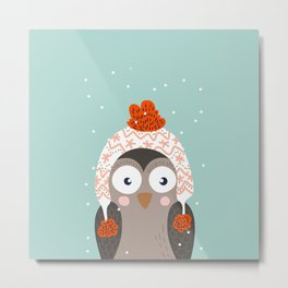 Owl Under Snow in the Christmas Time. Metal Print