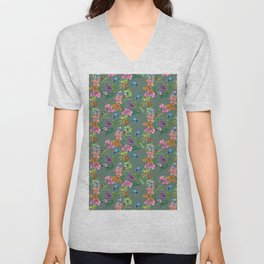 Floral pattern, plants and hummingbirds on green background Unisex V-Neck