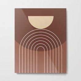 Mid Century Modern Geometric 4 (Terracotta and beige) Metal Print