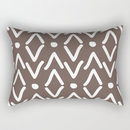 African Tribal Marking Brown Abstract Mud Cloth Rectangular Pillow
