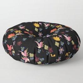 Dark Floral Garden Floor Pillow