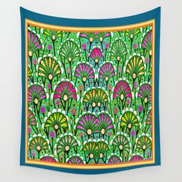 Teal-Green Colored Stylized Palmetto Floral Garden  Abstract Wall Tapestry