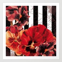 Black Stripes and Flowers  Art Print