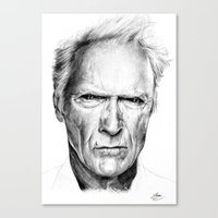 clint eastwood Canvas Prints featuring Clint Eastwood by Chloé Arros