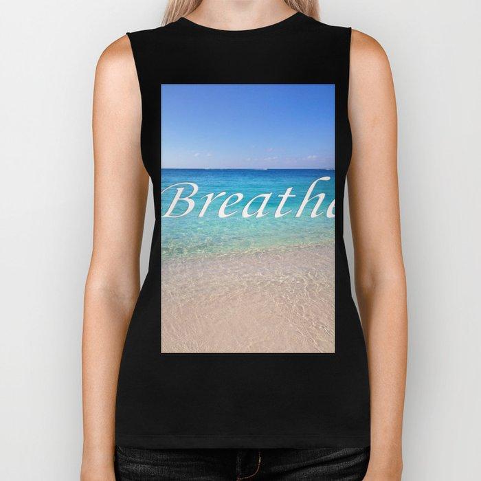Breathe Cayman Relaxing Beach Waves Biker Tank