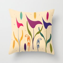 Bright Tropical Vibe Floral Throw Pillow