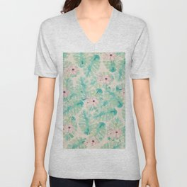 Blush pink green watercolor tropical ivory floral Unisex V-Neck