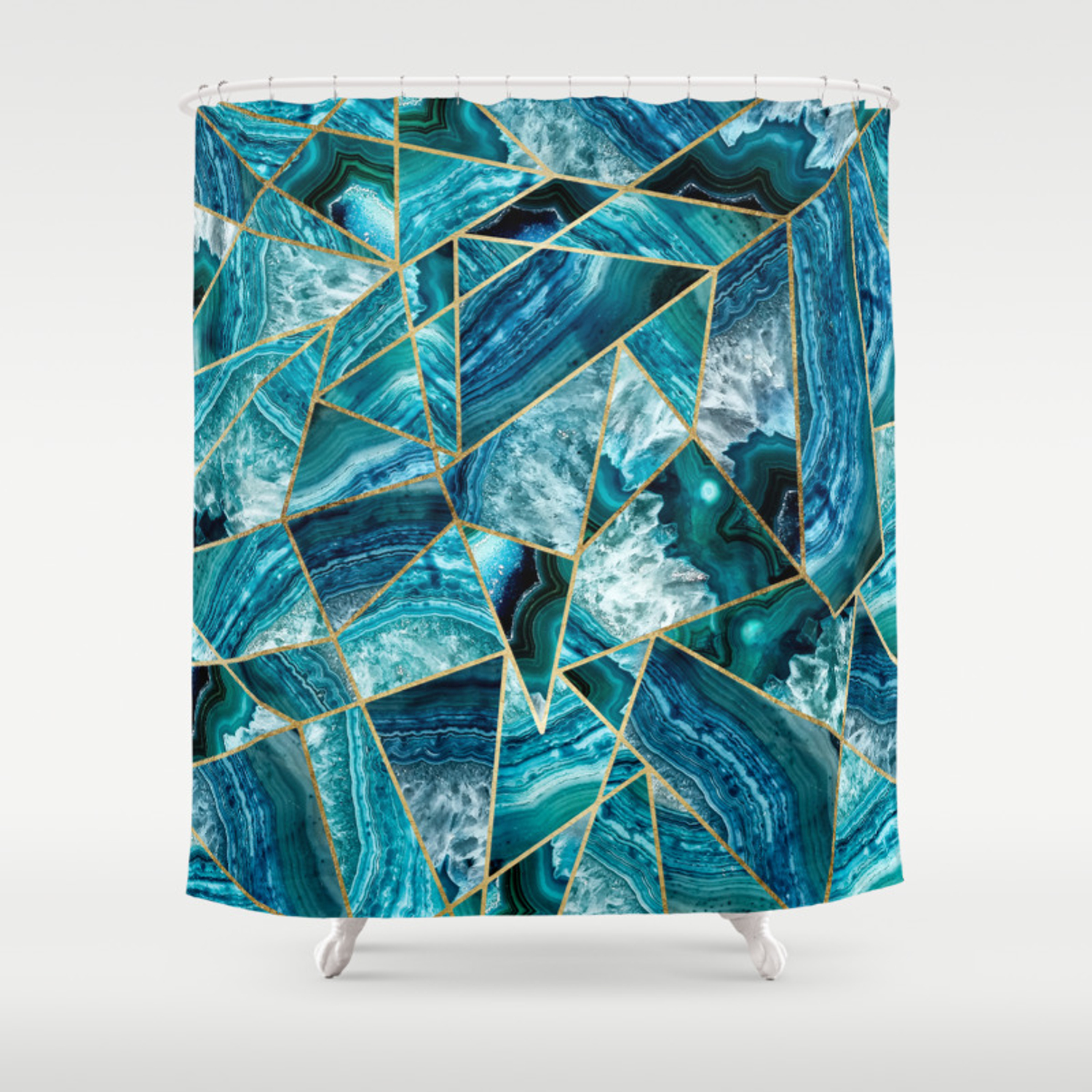 Turquoise Navy Blue Agate Black Gold Geometric Triangles Shower Curtain By Blackstrawberry Society6