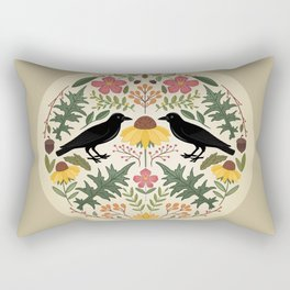 Crows, Wild Roses, Thistles And Sunflowers Rectangular Pillow