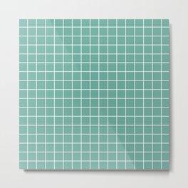 Green Sheen - blue color -  White Lines Grid Pattern Metal Print