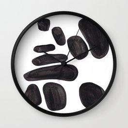 Abstract Minimalist Mid Century Modern Colorful Pop Art Black Watercolor Pebbles Organic Shapes Wall Clock
