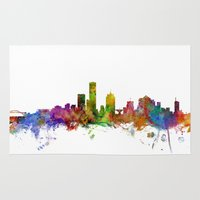 milwaukee Area & Throw Rugs featuring Milwaukee Wisconsin Skyline by artPause