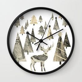 Winter Woods, collage Wall Clock