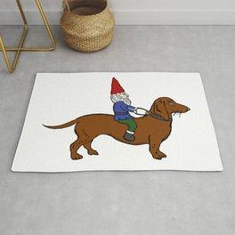 Gnome Riding a Dachshund Rug