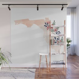 Florida Watercolor Floral State Wall Mural