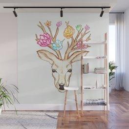 Deer with flowers Wall Mural