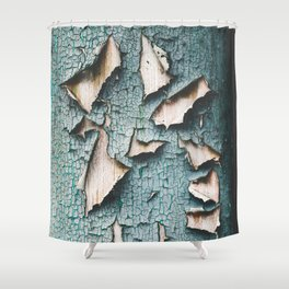 Rustic old light blue green peeling paint Shower Curtain