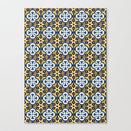 Yellow and Blue Moroccan Tile Canvas Print