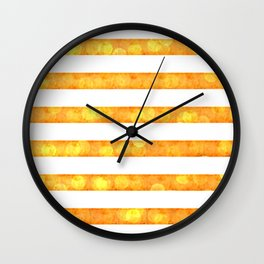 Bokeh Stripes Gold And White - Glam Wall Clock