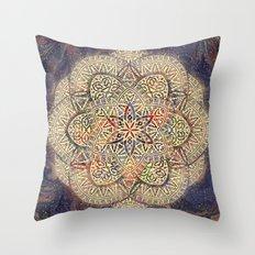 Gold Morocco Lace Mandala Throw Pillow