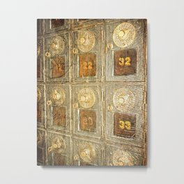 Vintage Post Office Boxes Metal Print