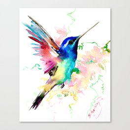 Hummingbird , Blue Turquoise Pink Canvas Print