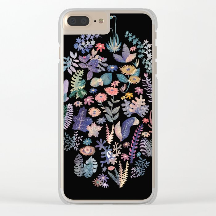 flower circle in black Clear iPhone Case