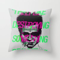 tyler durden Throw Pillows featuring Tyler the Destroyer by Davies Babies